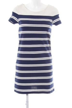 Zara Basic Jerseykleid wollweiß-blau Streifenmuster Casual-Look