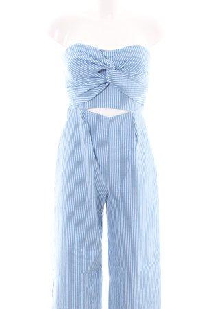 Zara Basic Jumpsuit blau-weiß Streifenmuster Casual-Look