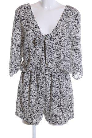 Zara Basic Jumpsuit weiß-schwarz Allover-Druck Casual-Look