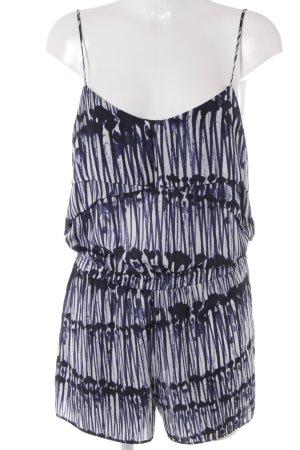 Zara Basic Jumpsuit dunkelblau-weiß Farbtupfermuster schlichter Stil