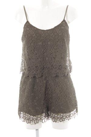 Zara Basic Jumpsuit khaki florales Muster Spitzen-Optik