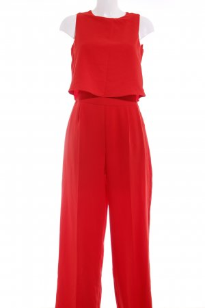 Zara Basic Jumpsuit rot Casual-Look