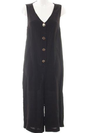 Zara Basic Jumpsuit zwart-goud casual uitstraling