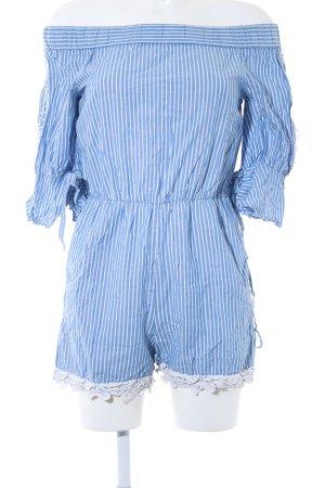 Zara Basic Tuta bianco-azzurro motivo a righe stile casual