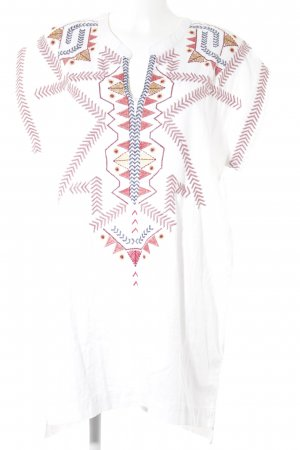 Zara Basic Caftan natural white Aztec pattern beach look