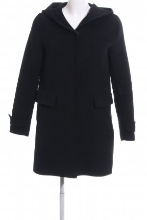 Zara Basic Hooded Coat black business style