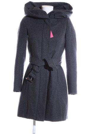 Zara Basic Hooded Coat blue flecked business style
