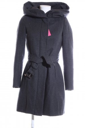 Zara Basic Kapuzenmantel blau meliert Business-Look