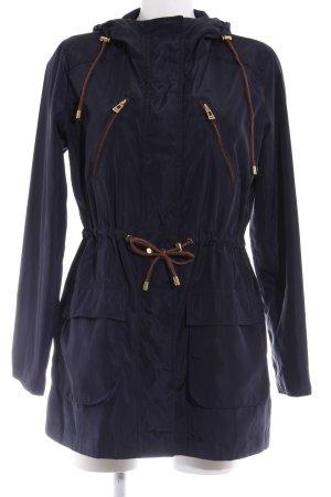 Zara Basic Kapuzenmantel dunkelblau-bronzefarben Casual-Look