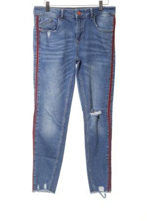 Zara Basic Wortel jeans korenblauw-rood casual uitstraling