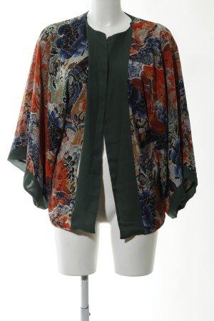Zara Basic Kimono-Bluse grün-rot abstraktes Muster Elegant