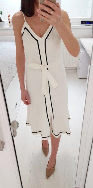 Zara Basic Kleid 100 % Leinen weiß mit schwarzen Rändern S/36