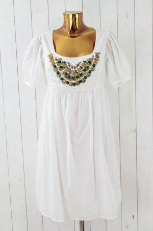 ZARA BASIC Kleid Sommerkleid Weiß Baumwolle Kurzarm Messing Kugeln Gr.M