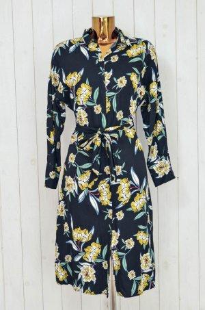 ZARA BASIC Kleid Wickelkleid Schwarz Gelb Blau Weiß Geblümt Langarm Kragen Gr.XS