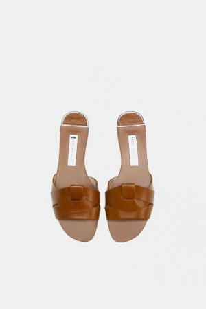 Zara Basic Komfort-Sandalen cognac Casual-Look
