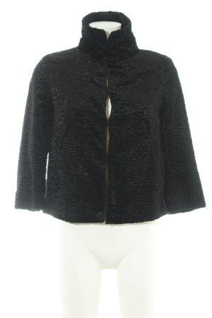 Zara Basic Kunstfelljacke schwarz Casual-Look