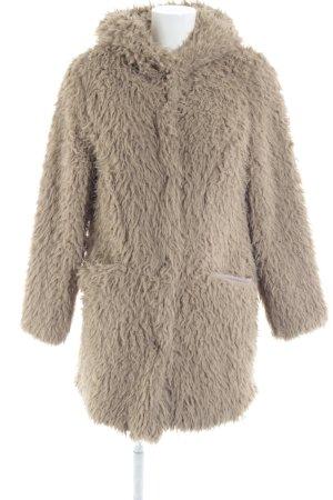 Zara Basic Fake Fur Coat beige fluffy