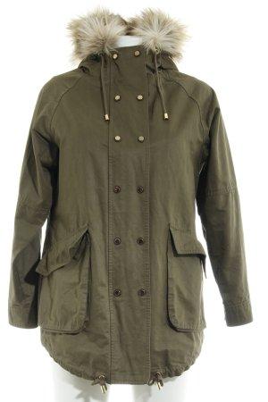 Zara Basic Kunstfellmantel khaki-olivgrün Casual-Look