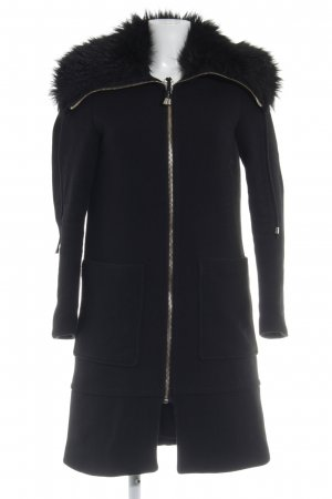 Zara Basic Kunstfellmantel schwarz Elegant