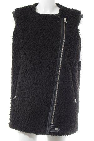 Zara Basic Vest van imitatiebont zwart casual uitstraling