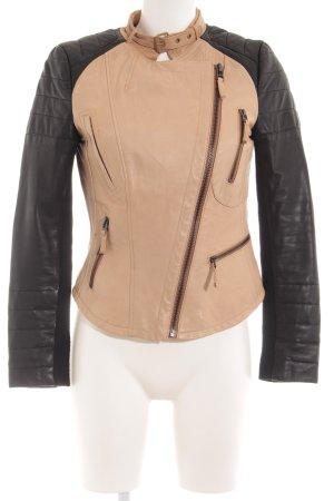 Zara Basic Kunstlederjacke beige-schwarz Casual-Look