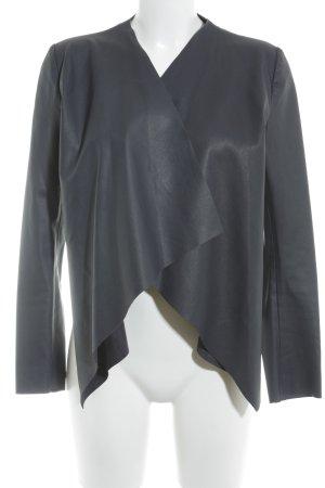 Zara Basic Kunstlederjacke dunkelblau Casual-Look