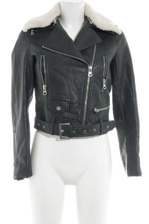 Zara Basic Kunstlederjacke dunkelgrün-wollweiß Biker-Look