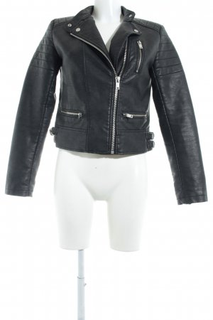 Zara Basic Kunstlederjacke schwarz Biker-Look