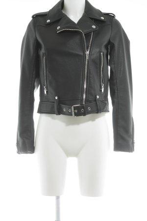 Zara Basic Faux Leather Jacket black biker look