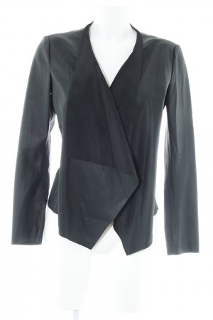 Zara Basic Veste en cuir synthétique noir style décontracté