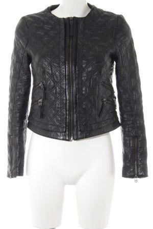 Zara Basic Faux Leather Jacket black check pattern biker look