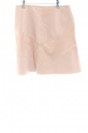Zara Basic Faux Leather Skirt dusky pink material mix look