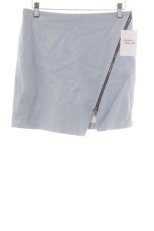 Zara Basic Kunstlederrock babyblau-dunkelblau Casual-Look