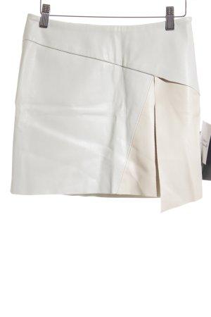 Zara Basic Rok van imitatieleder grijs-groen-nude straat-mode uitstraling