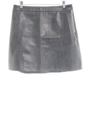 Zara Basic Jupe en cuir synthétique bleu pétrole style simple