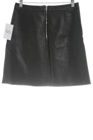 Zara Basic Rok van imitatieleder zwart Biker-look