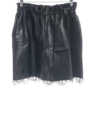 Zara Basic Faux Leather Skirt black rockabilly style