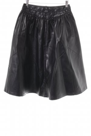 Zara Basic Falda de cuero de imitación negro estilo rockabilly