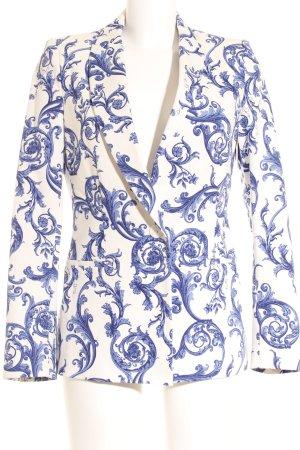 Zara Basic Kurz-Blazer blau-dunkelblau florales Muster extravaganter Stil