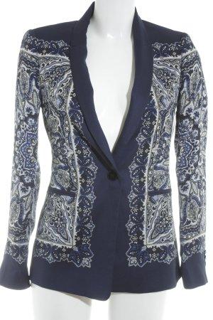 Zara Basic Short Blazer dark blue-white floral pattern casual look