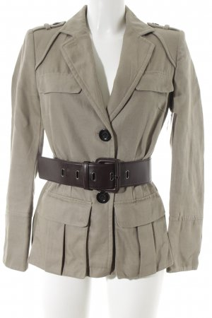 Zara Basic Kurz-Blazer graubraun Casual-Look