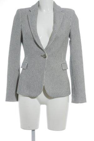 Zara Basic Kurz-Blazer wollweiß-blau Streifenmuster Business-Look