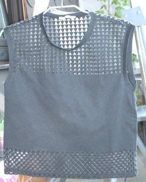 Zara Basic Kurz-Top schwarz mit Spitze Gr.S / 36