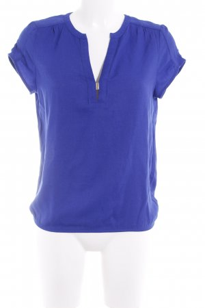 Zara Basic Kurzarm-Bluse blau Elegant