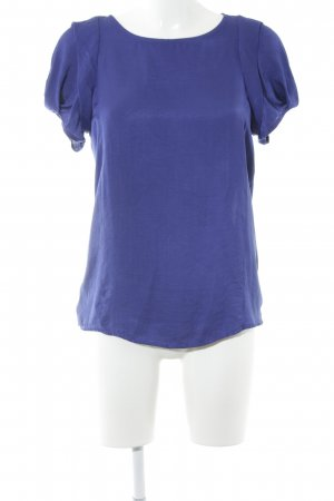 Zara Basic Kurzarm-Bluse blau Glanz-Optik
