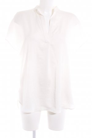 Zara Basic Kurzarm-Bluse creme Elegant
