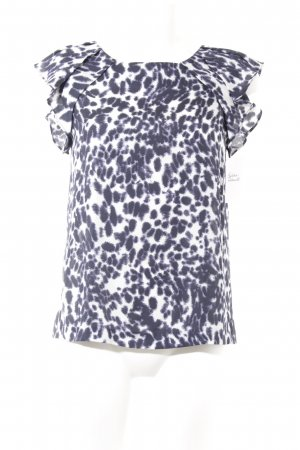 Zara Basic Kurzarm-Bluse dunkelblau-weiß Farbtupfermuster Casual-Look