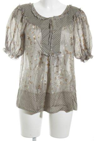 Zara Basic Kurzarm-Bluse graugrün-beige Blumenmuster Casual-Look