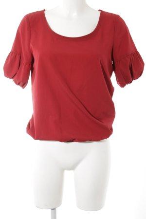Zara Basic Kurzarm-Bluse neonrot Casual-Look