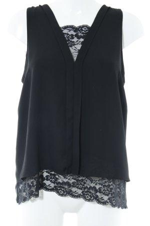 Zara Basic Kurzarm-Bluse schwarz florales Muster Business-Look